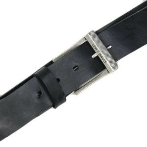 LEVIS Mens Black Leather Silver Buckle Belt